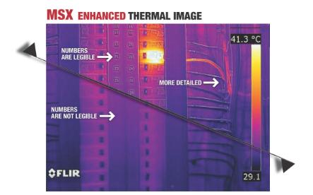 SX可将内置可见光相机拍摄的关键细节信息实时添加至整幅红外热像中