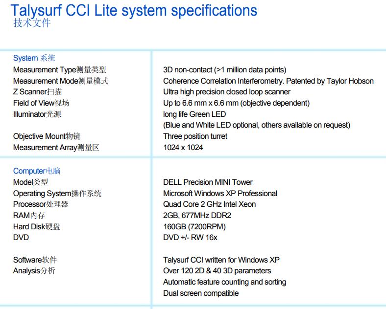 英国泰勒Talysurf CCI Lite技术文件一